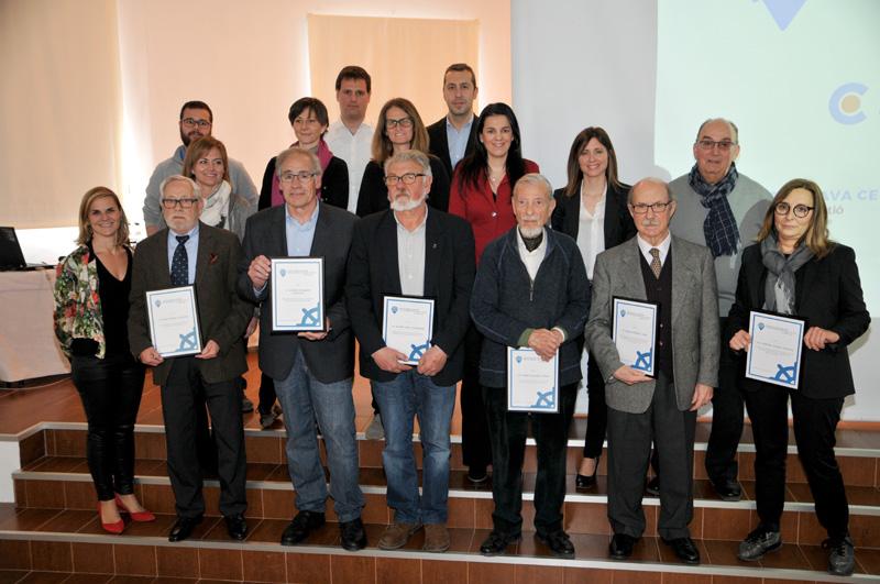 Imatge dels homenatjats avui pel gremi d'hostaleria. (Foto: Grup Costa Brava Centre).