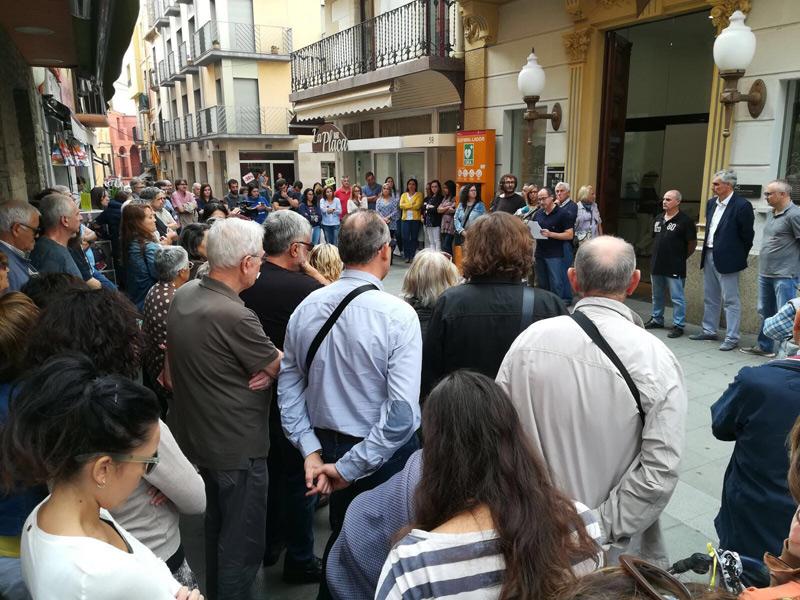 Concentració del dia 17 d'octubre de l'any passat un dia després de l'empresonament de Cuixart i Sánchez.