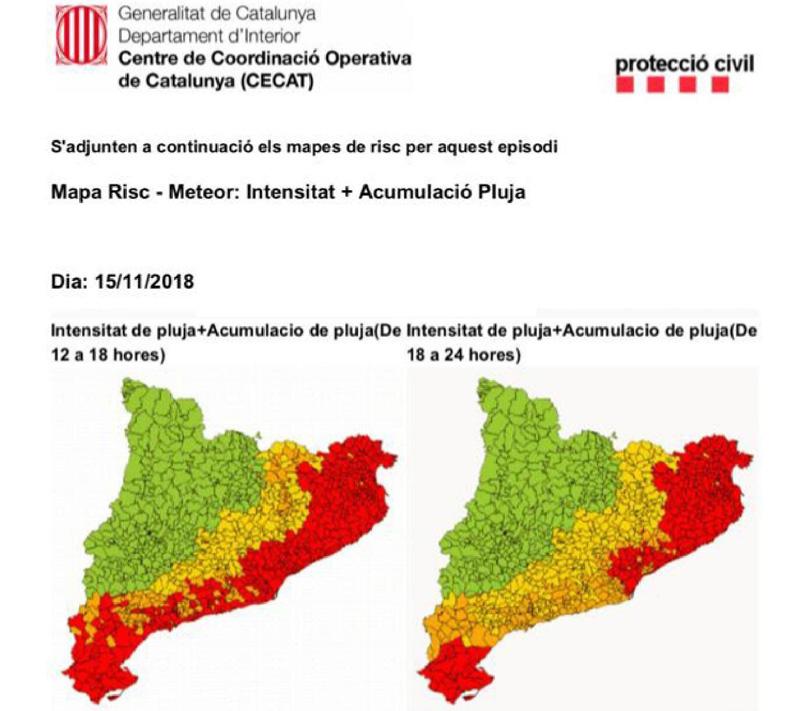 Activada l'alerta Inuncat per fortes pluges en el litoral i prelitoral de Catalunya.