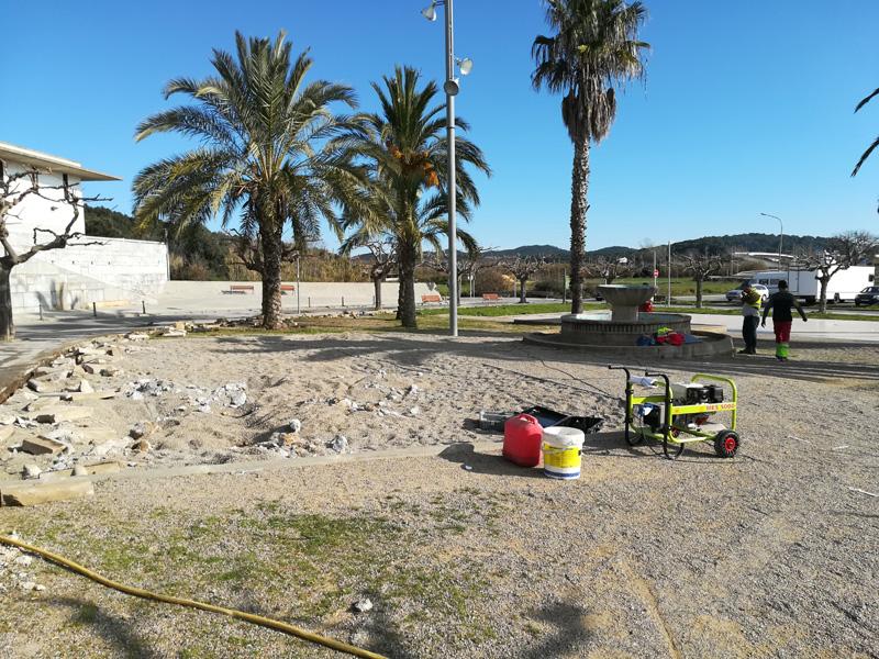 La reforma de la plaça de Vila-romà ja està en marxa. (Foto: Ajuntament de Palamós.