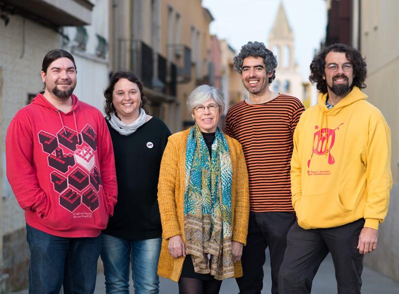 D'esquerra a dreta, Dani Leiva, Lídia Lara, Roser Huete, Joan Bohigas i Alexan Weltz. (Foto: CUP Santjoan Palamós).