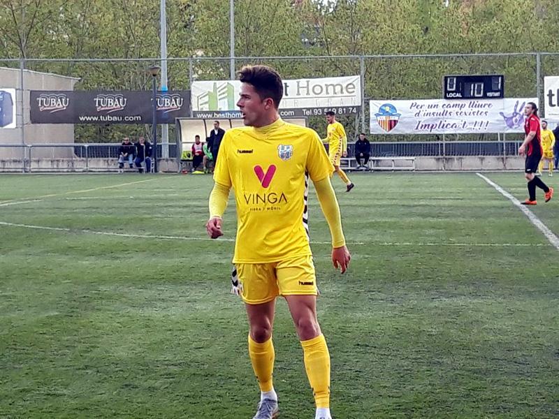Genís Balaguer, ha estat l'autor del gol del Palamós. (Foto. Sergi Cortés).