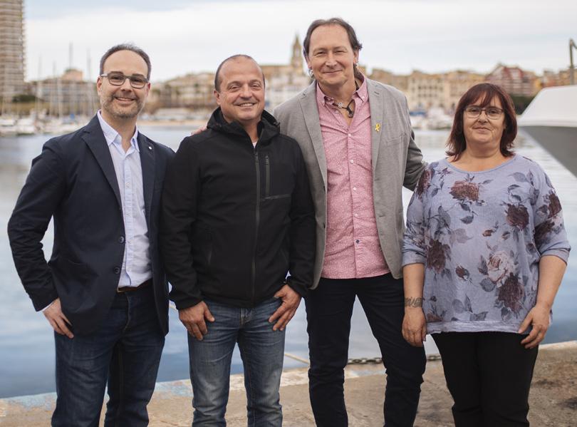 David Carol, Toni Campos, Dani Reixach i Maria José Grau, els quatre primers de la llista. (Foto: Junts X Palamós i Sant Joan).