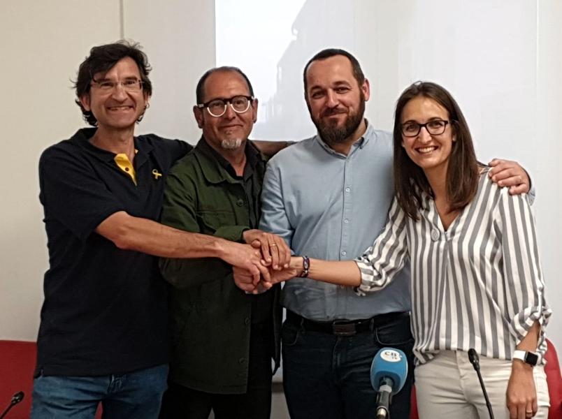 Els portaveus de CUP, Republicans, ERC i Avancem, amb el futur alcalde, Miquel Bell-lloch, segon per la dreta. (Foto: esquerra.cat).