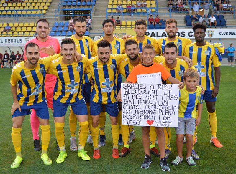 Onze titular del Palamós en el partit d'aquest passat dimecres davant l'Olot. (Foto: Sergi Cortés).