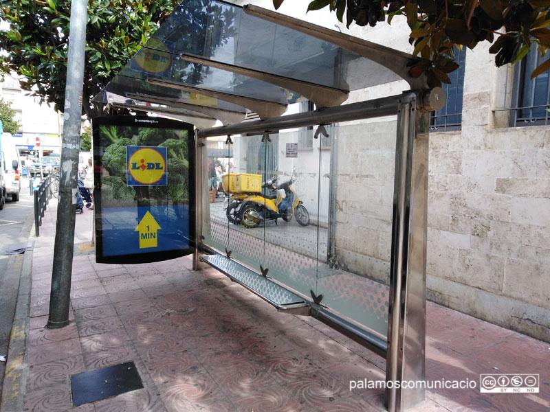 La marquesina de bus situada a l'avinguda de Catalunya.