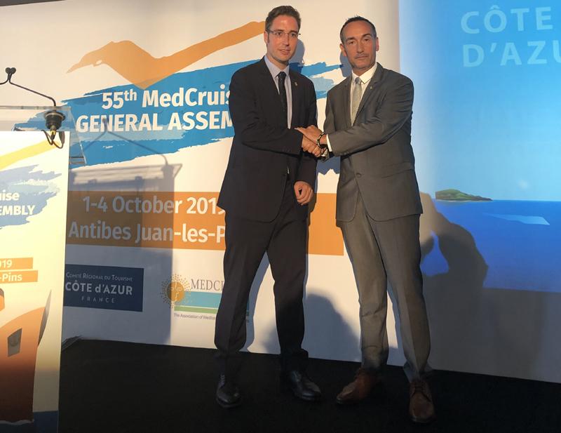El gerent de Ports, Joan Pere Gómez, i el vicepresident del Patronat de Turisme, Jordi Masquef, a Antibes. (Foto: Ports de la Generalitat).