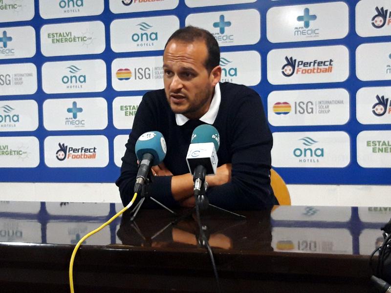 L'entrenador del Palamós, Joan Mármol, ahir a la sala de premsa.