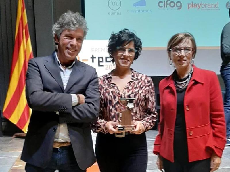 Miquel, Carme i Teresa Ferrés, de l'empresa Cherry Tech, guanyadors en la categoria de