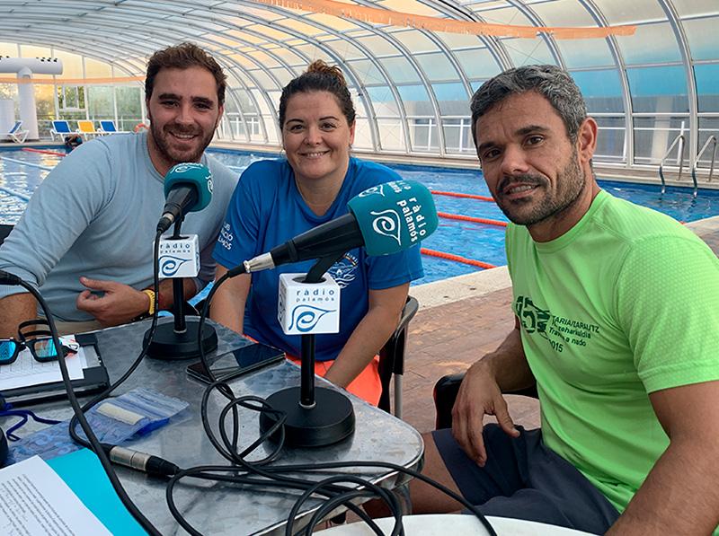 Òscar Carreras, Ester Yesares i David Pavón, responsables de l'escola del Club Natació Palamós.