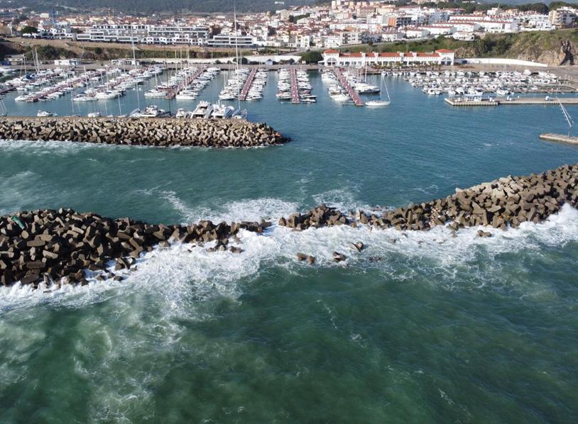 Vista aèria del port Marina Palamós, amb l'espigó trencat pel temporal. (Foto: Àlex R.).