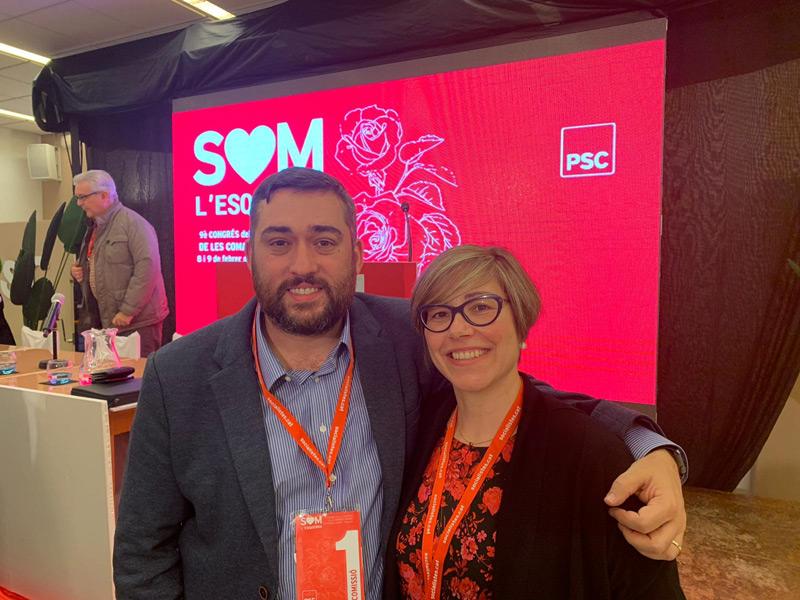 Yolanda Aguilar amb el primer secretari del PSC gironí, Marc Lamuà, al Congrés de Platja d'Aro. (Foto: PSC Palamós).