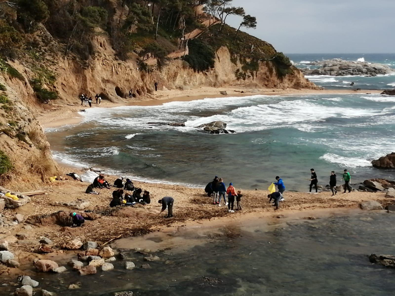Esportistes i familiars del CE Palamós, recollint brossa a Cala Estreta. (Foto: Club Esportiu Palamós).