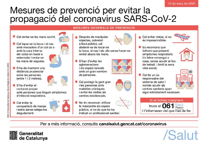 Mesures de prevenció per evitar el coronavirus