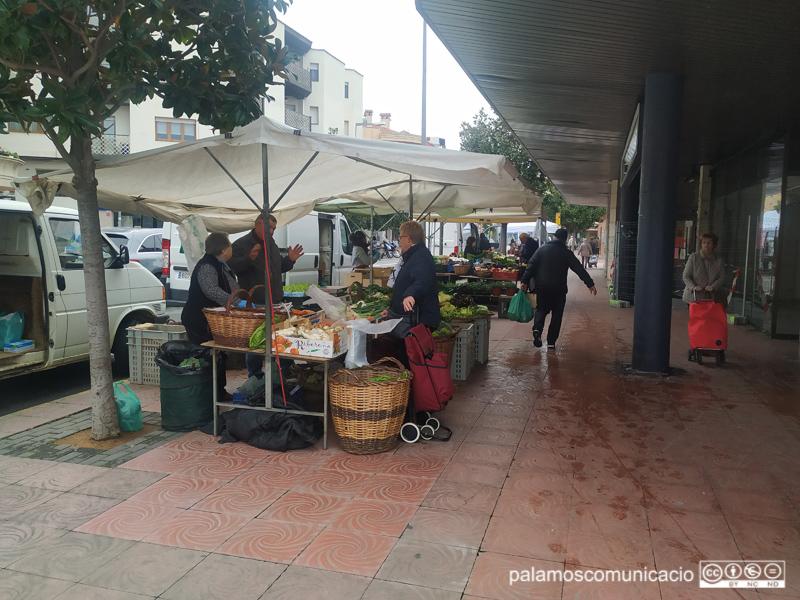 Parades de fruita i verdura aquest matí al mercat setmanal.
