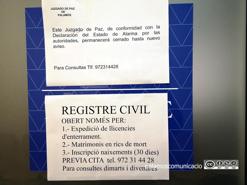 Nota informativa dels serveis que ofereix el Registre Civil de Palamós.