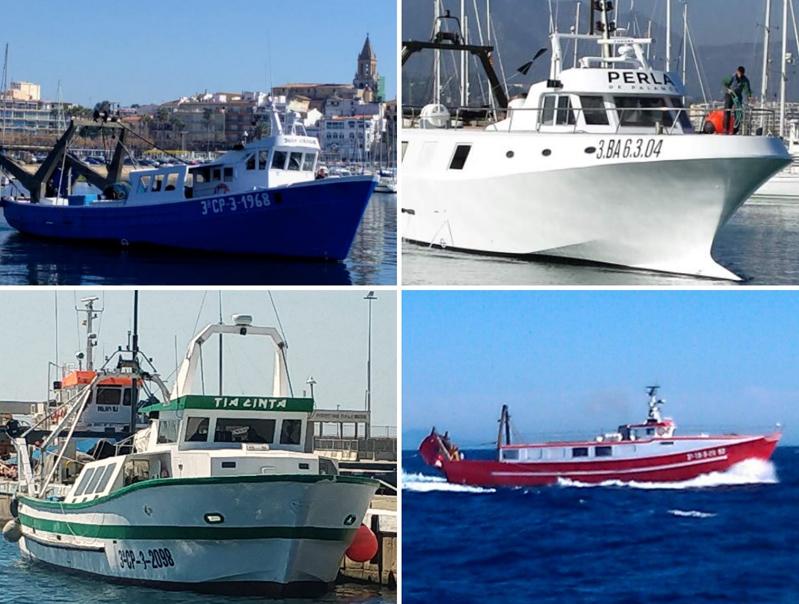 Les barques Mandorri, Juan y Virgilio, Perla de Palamós i Tia Cinta han aportat 8.000 euros per combatre el COVID19. (Foto: Ajuntament de Palamós).