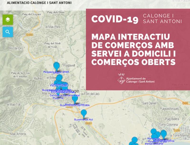 Mapa interactiu de comerços calongins oberts i amb servei a domicili. (Foto: Ajuntament de Calonge i Sant Antoni).