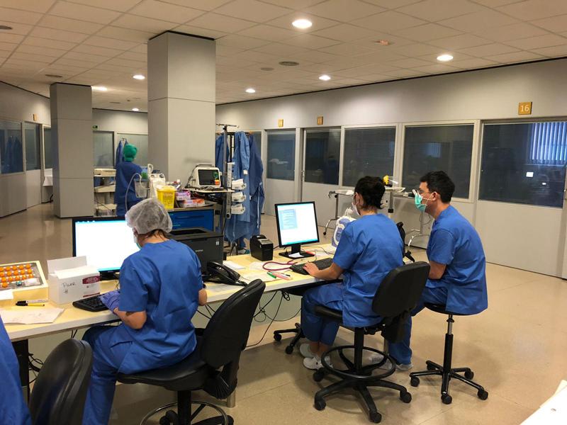 Treballadors de l'hospital de Palamós.