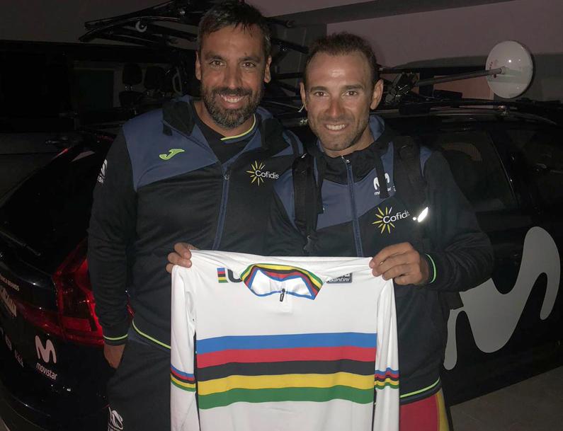 David Fernández amb Alejandro Valverde quan el murcià va guanyar el Campionat del Món.