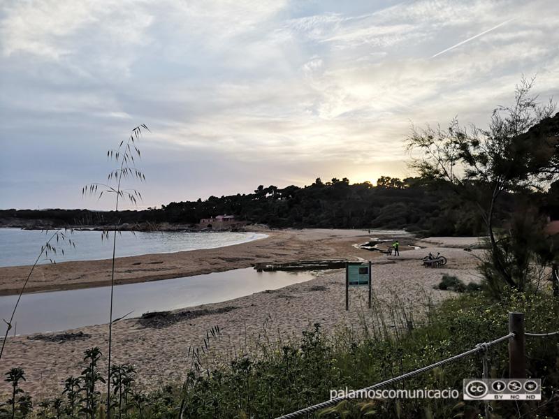 La platja de Castell, abans de l'actuació, amb els efectes del temporal Glòria.