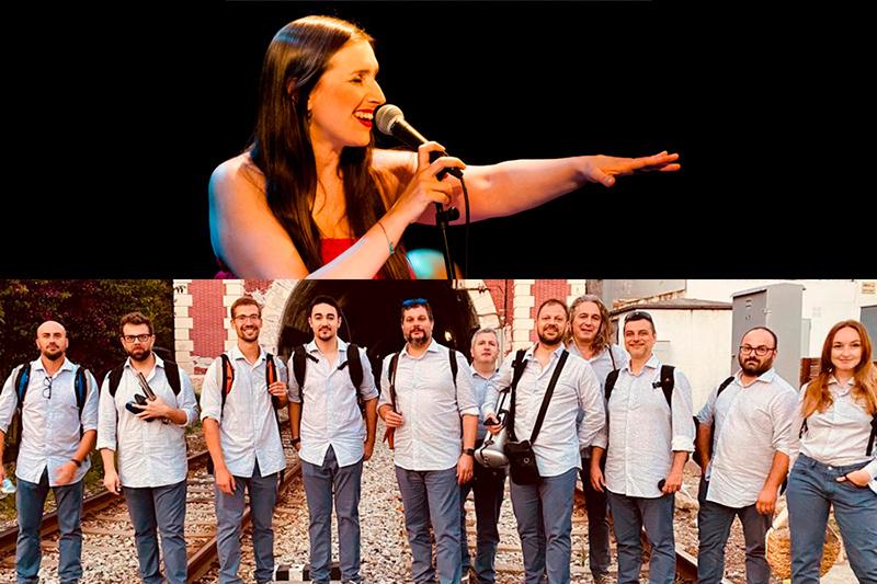 Névoa i la cobla La Flama de Farners, avui en una doble actuació al festival Amb So de Cobla.
