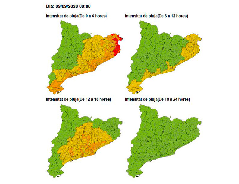 Mapa de la previsió meteorològica de les properes hores. (Foto: emergencies.cat).