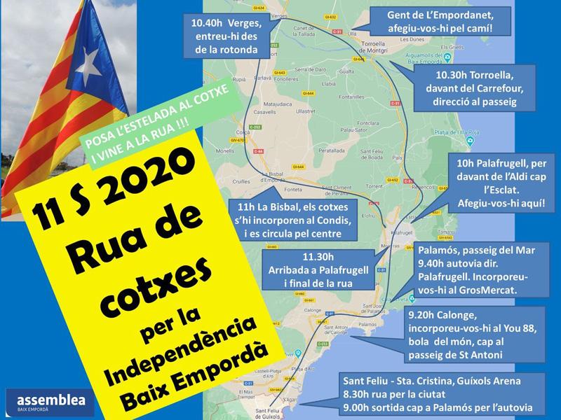 Itinerari de la rua de cotxes per la independència. (Foto: ANC Palamós, Sant Joan i Vall-llobrega).