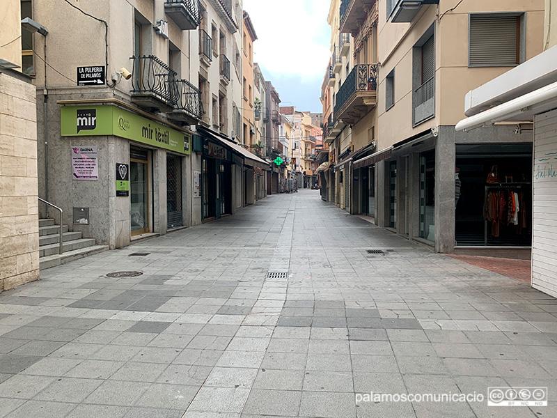 El carrer Major de Palamós, aquest matí.