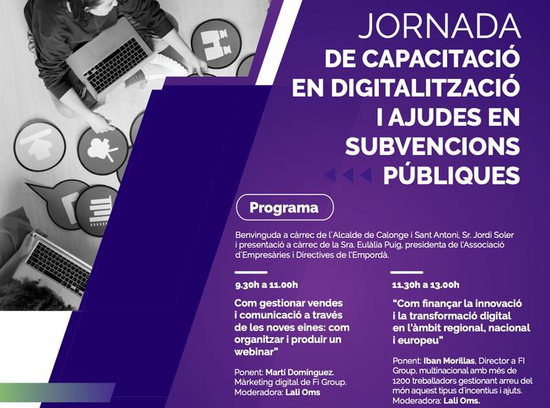 Cartell de les xerrades sobre digitalització empresarial. (Foto: Ajuntament de Calonge i Sant Antoni).
