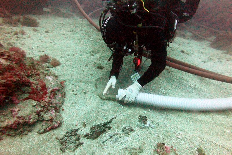 Les restes es troben a una fondària d'uns 40 metres i en part s'han descobert gràcies al temporal Gloria. (Foto: Museu d'Arqueologia de Catalunya).
