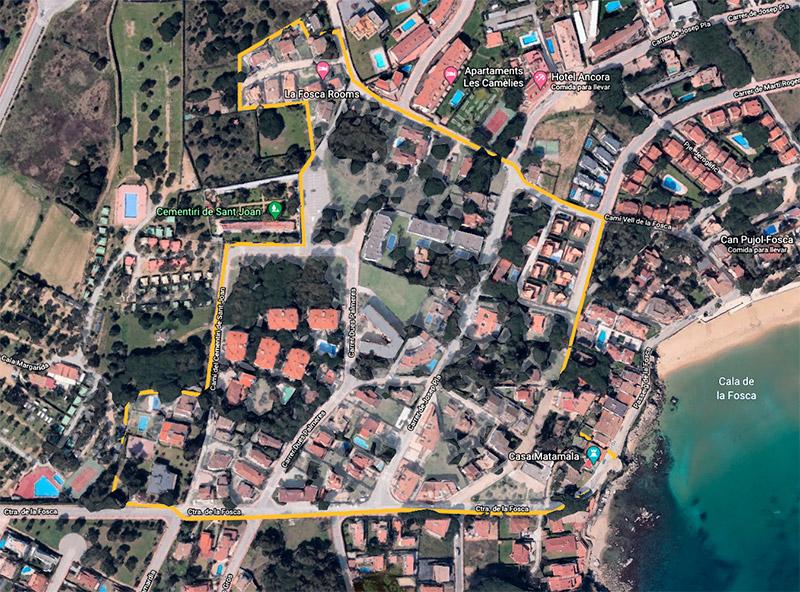 Delimitat de color groc la zona afectada per la segona fase del projecte d'urbanització de la Fosca. (Foto: Google Earth).