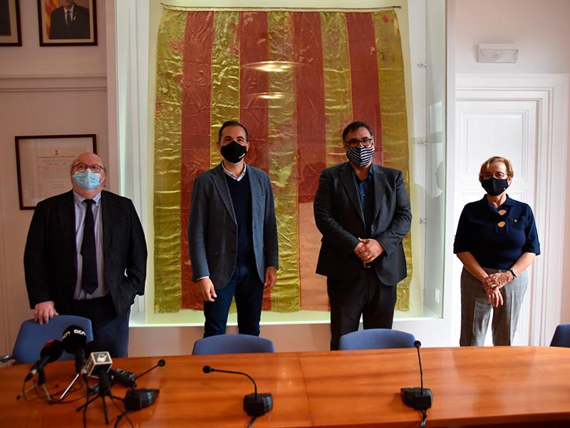 La reunió dels quatre batlles, aquest passat dissabte. (Foto: Ajuntament de Sant Feliu de Guíxols).