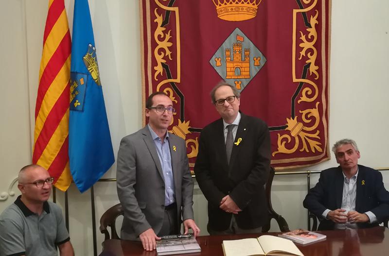 Quim Torra, durant la seva primera visita institucional a Palamós com a president de la Generalitat, el juny de 2018.