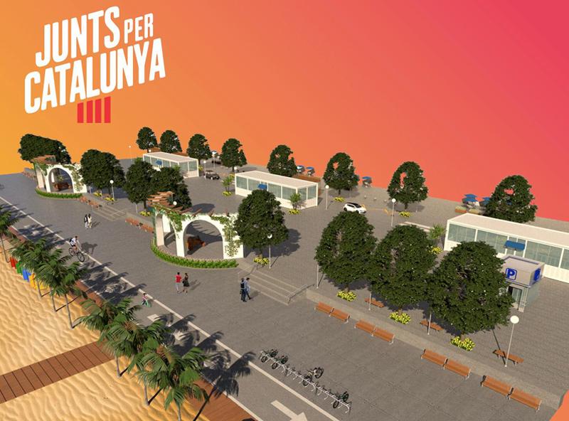 Projecte de reforma del passeig que proposava Junts per Catalunya Palamós i Sant Joan en el seu programa electoral.