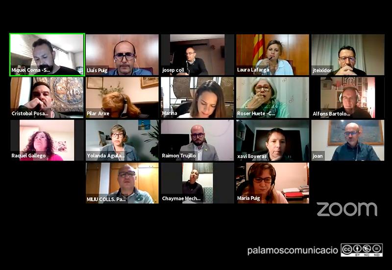 Imatge del Ple telemàtic de l'Ajuntament de Palamós celebrat ahir al vespre.