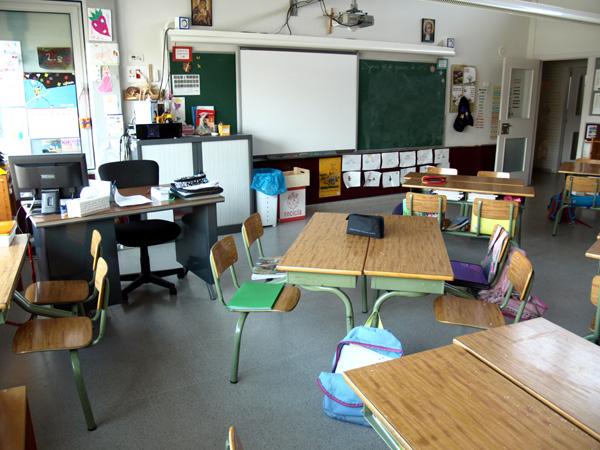 Una aula de primària a l'escola La Salle.
