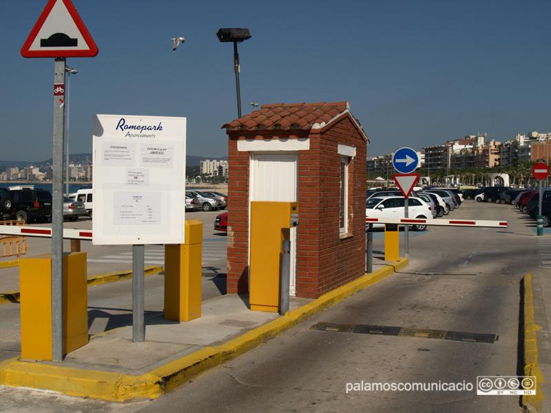 L'aparcament de la platja Gran quan estava gestionat per l'empresa Romepark.
