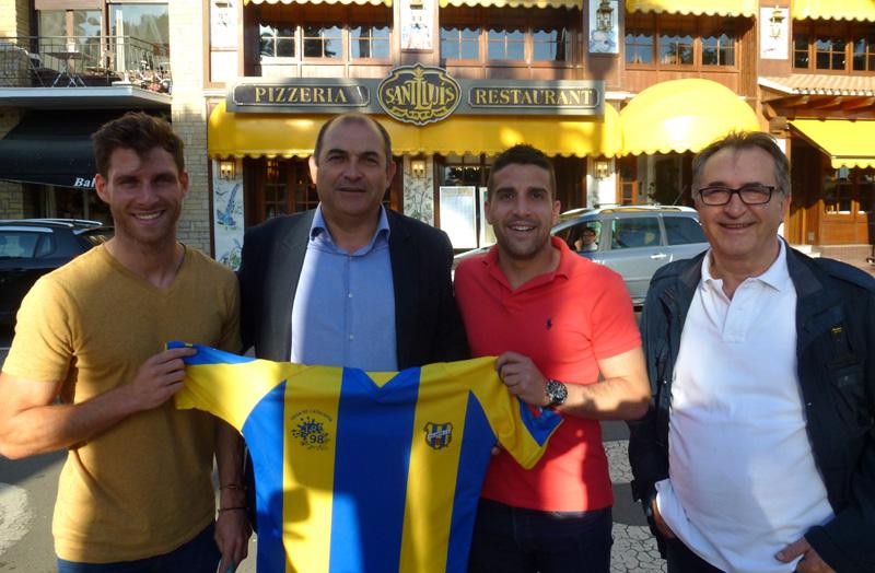 Duran, Pérez, García i Caballero, durant la presentació dels dos primers fitxatges del Palamós CF. (Foto: Pere Subirana.)