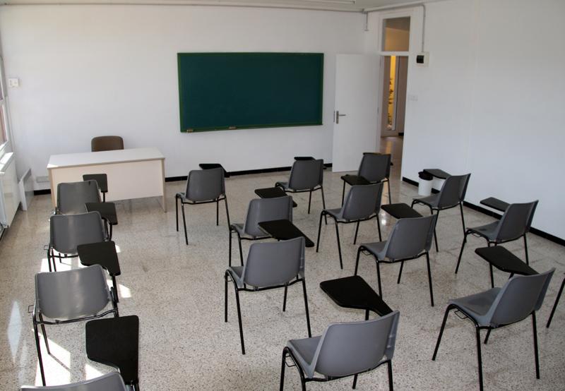 Aula del Servei de Català de Palamós, a l'Aula d'Aprenentatge municipal.