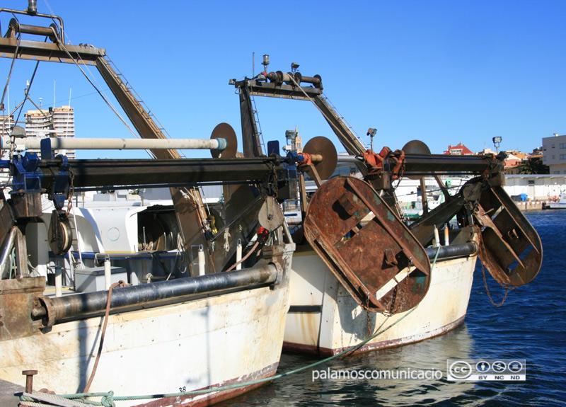 Barques d'arrossegament al port de Palamós.