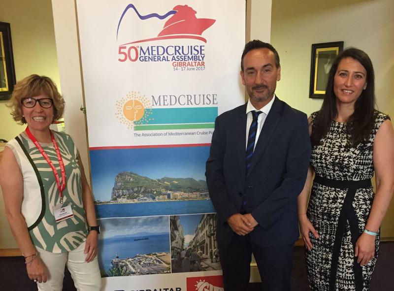 Representants de Ports, amb el gerent Joan Pere Gómez, en una trobada de MedCruise.