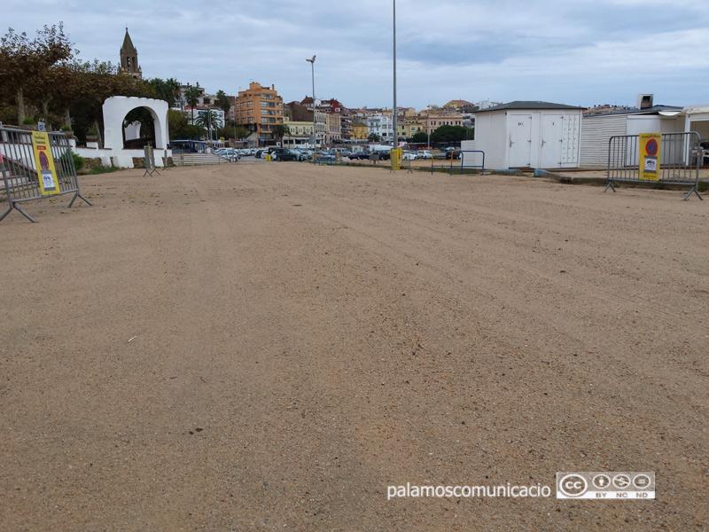 Aparcament de la platja Gran de Palamós. (Foto: Ajuntament de Palamós).