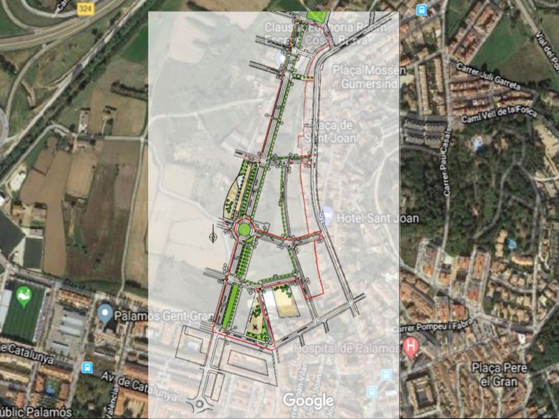 Plànol d'actuació urbanística del sector del Camí de la Font.