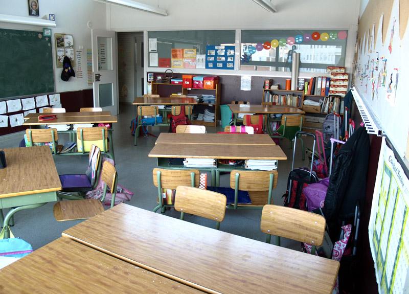 Una aula d'una escola de Palamós.