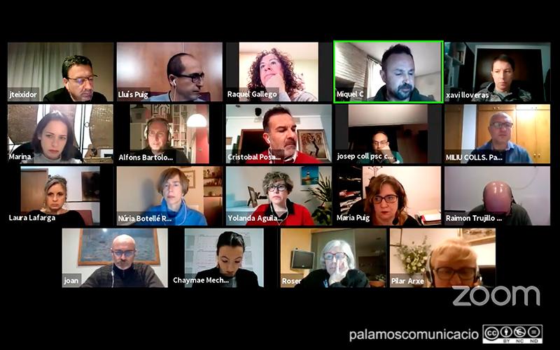Els regidors i regidores de l'Ajuntament de Palamós, durant un Ple telemàtic.