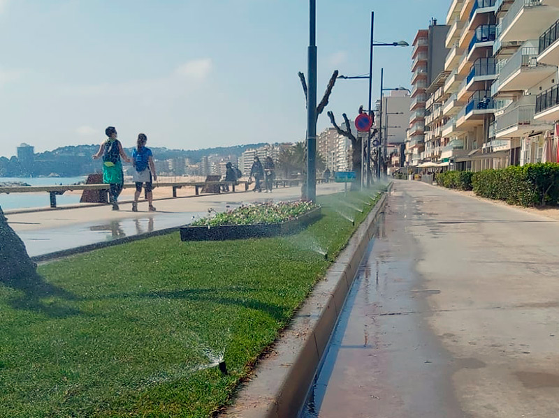 S'ha renovat la major part de la gespa del passeig Josep Mundet. (Foto: Ajuntament de Calonge i Sant Antoni).