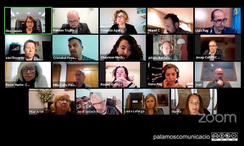 Els regidors i regidores de l'Ajuntament de Palamós, en el Ple telemàtic d'aquest mes d'abril.