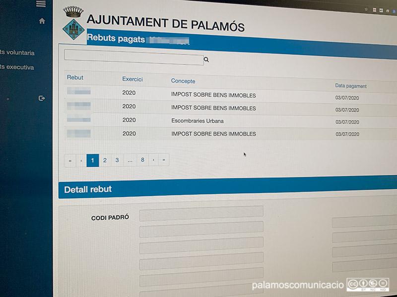 El nou Portal Tributari de l'Ajuntament de Palamós.