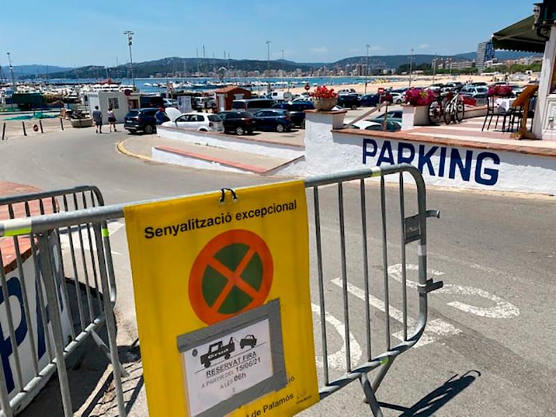 L'aparcament de la platja Gran, avui. (Foto: Ajuntament de Palamós).